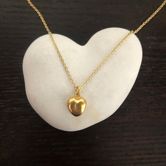 "Image of 18K Solid Gold Heart on 20"" Chain with Toggle"