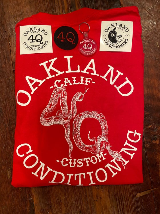 Image of Long Sleeve Shirt. Red with white ink. One off 4Q Logo/ Snake/ with sleeve print.
