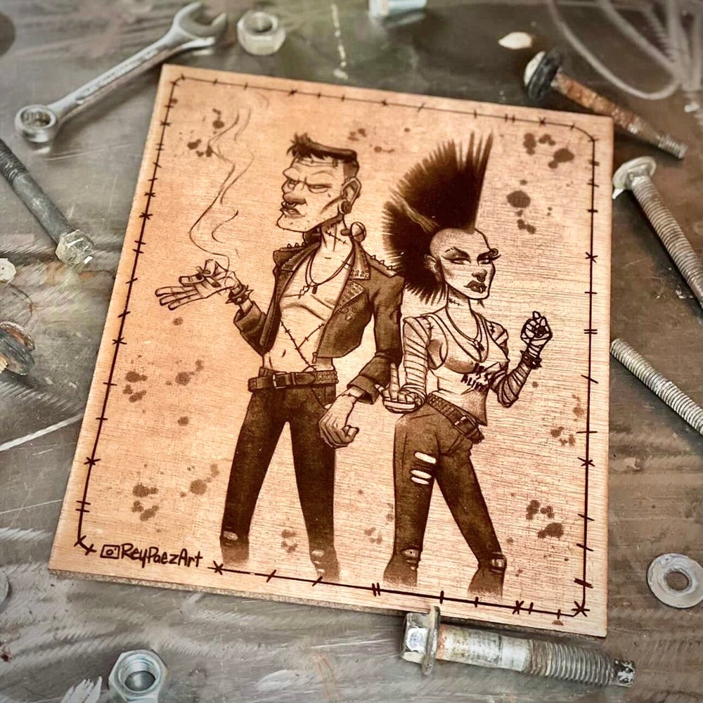 Bolts, stitches and rock and roll (wood print)