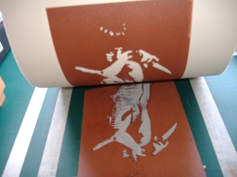 Medea - Linoprint by Paul Watson