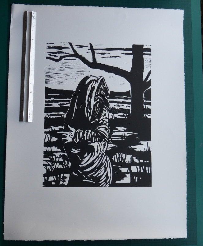 Badb Catha (2) - Linoprint by Paul Watson
