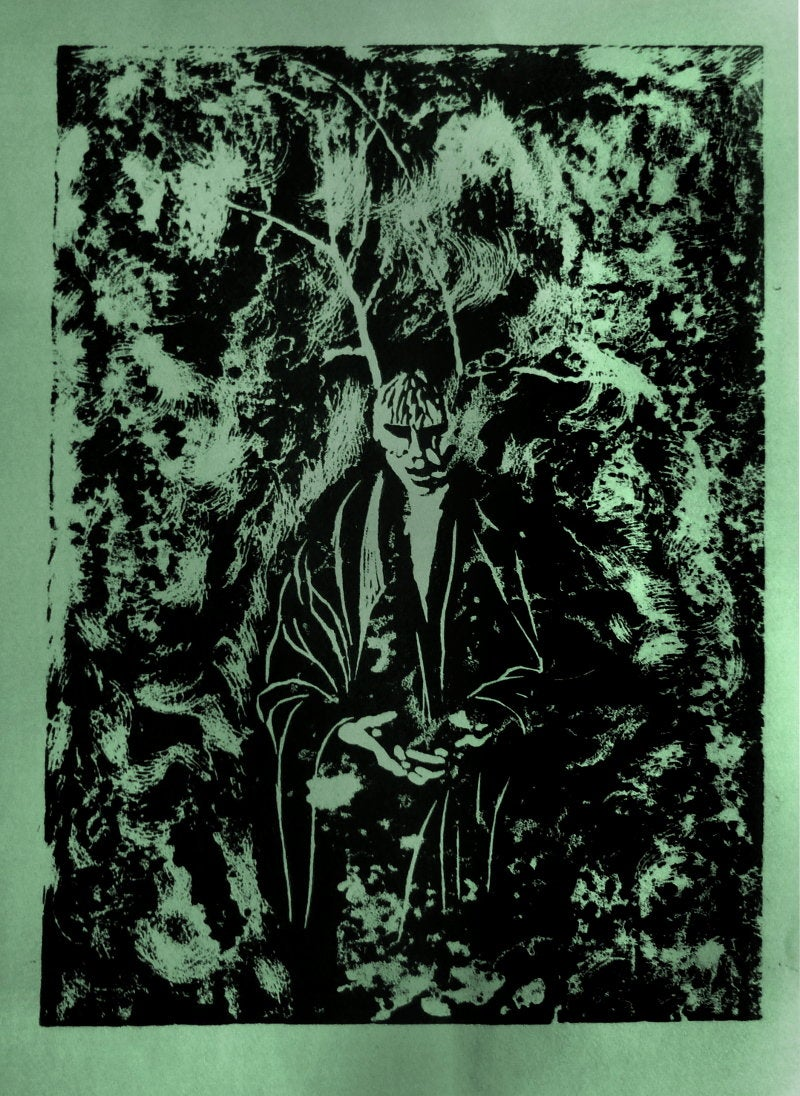 Forest Figure - Linoprint by Paul Watson