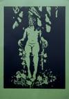 Moss Figure - Linoprint by Paul Watson