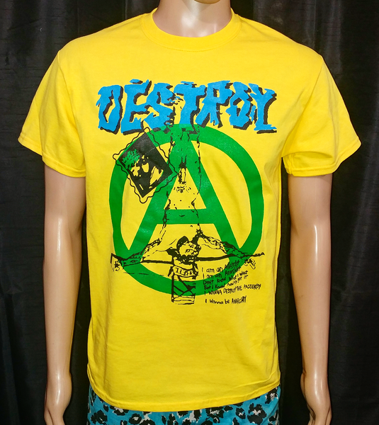 Image of DESTROY crucified jesus green anarchy yellow tshirt