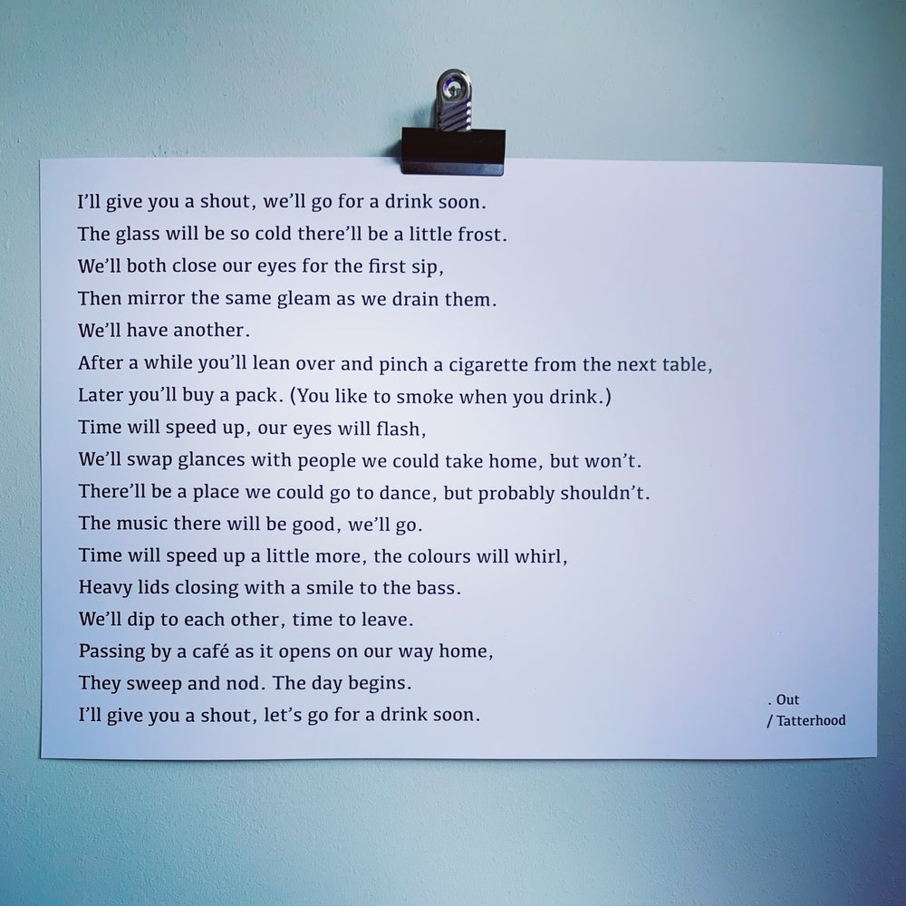 Image of Out - Heavy Weight Poem Art Print A3