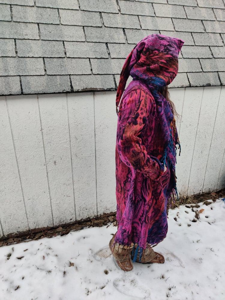 Image of Funkadelic Fringe Coat Pink