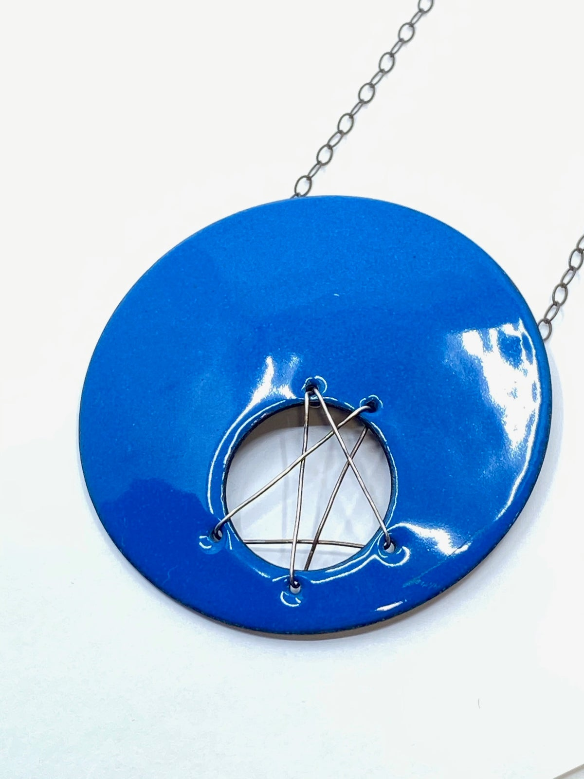 **25% Off** Blue Enameled Necklace by Kimberly Geiser