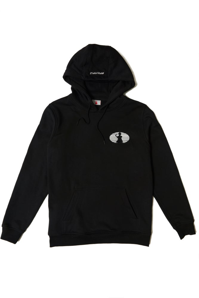 Image of BROSKI - EMBROIDERED LOGO BLACK HOODIE
