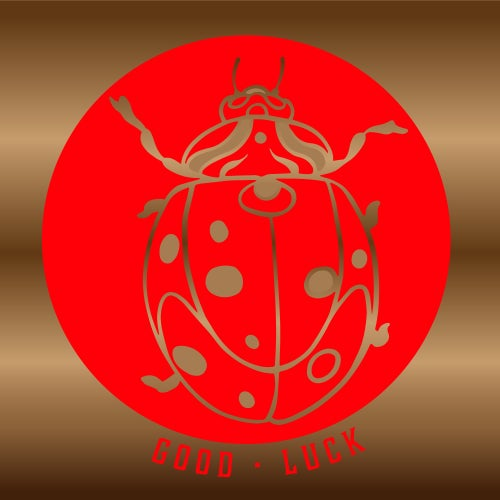 """Image of """"Good Luck"""" Lady Bug Gold Foil Sticker"""