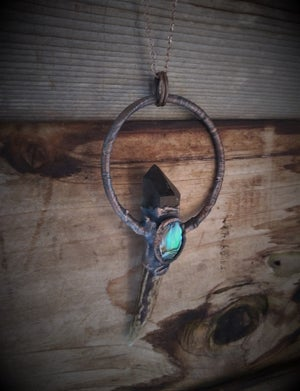 Image of Electroplated Deer Antler with Smokey Quartz and Abalone