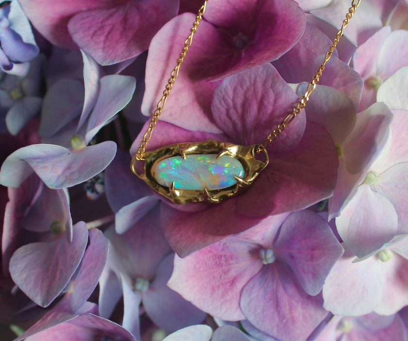 Image of Pastel Aurora Opal Necklace in 9ct gold.