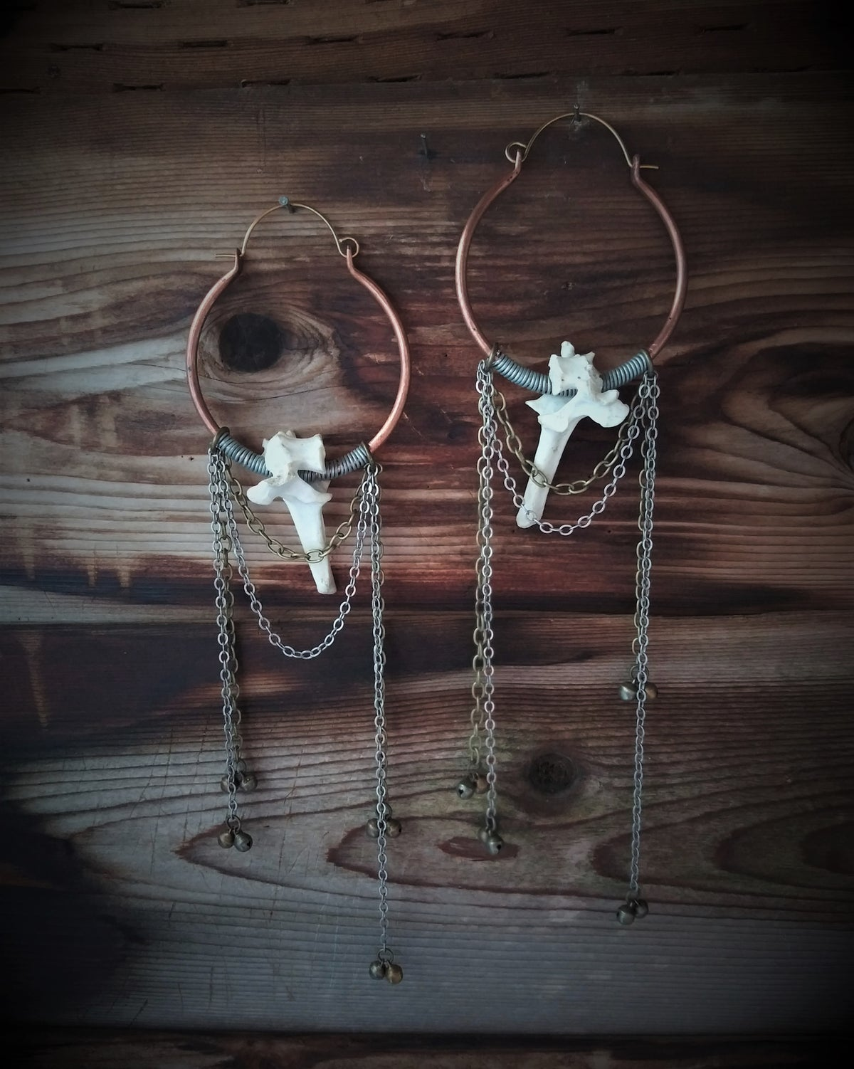 Image of Raccoon Vertebrae Hoops with Chains and Bells