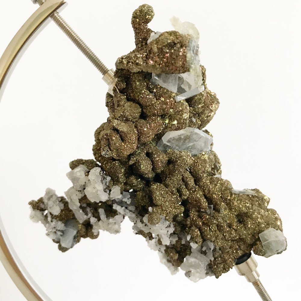 Image of Quartz/Chalcopyrite no.15 + Chrome Arc Stand
