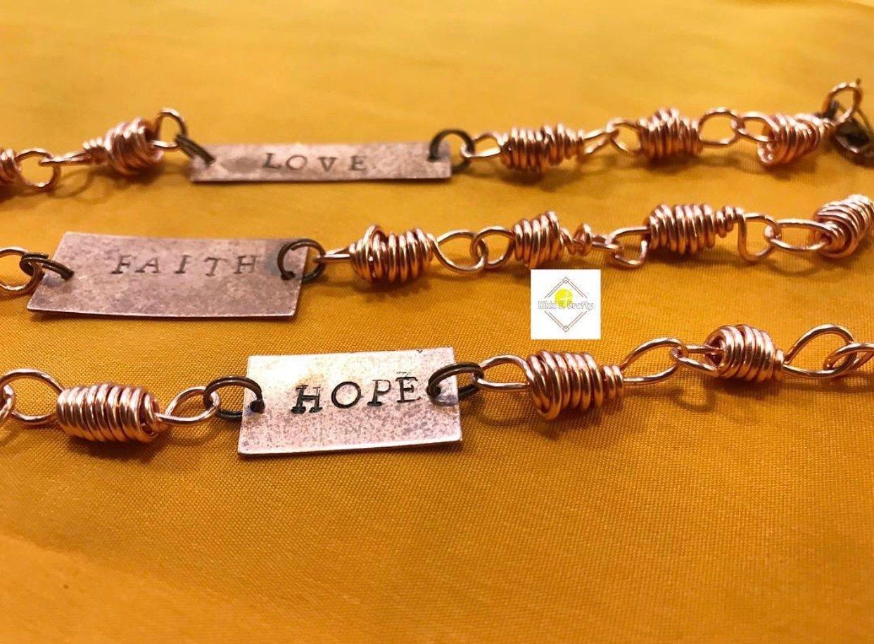 Image of Custom Word Plate Copper Bracelet