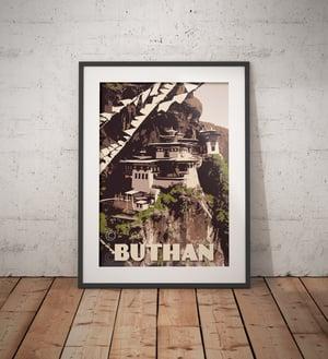 Image of Vintage poster Bhutan - Paro Taktsang - Tiger Nest - Fine Art