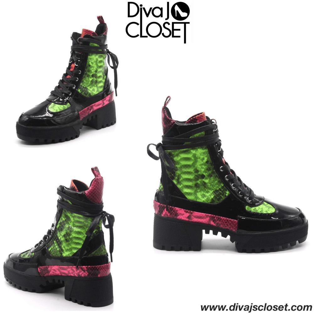 Image of Kingpin Black & Snake Print Combat Boots