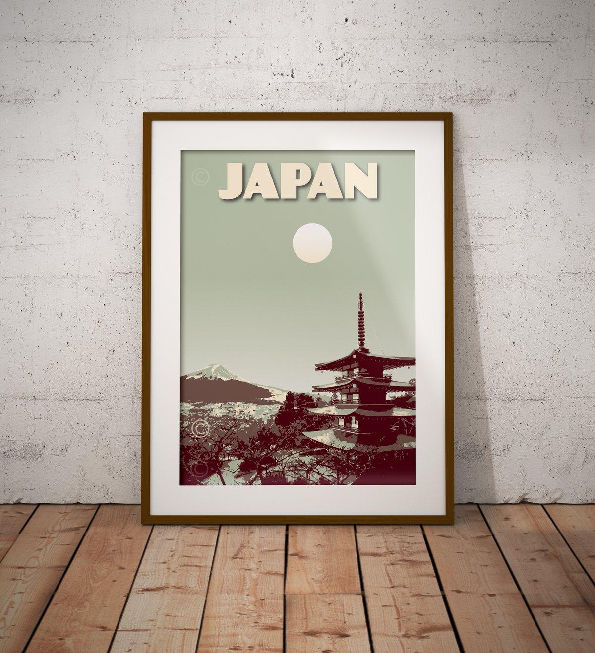 Image of Japan Print | Vintage poster Japan Mt. Fuji | Pagoda Chureito | Travel Poster | Gift | Green