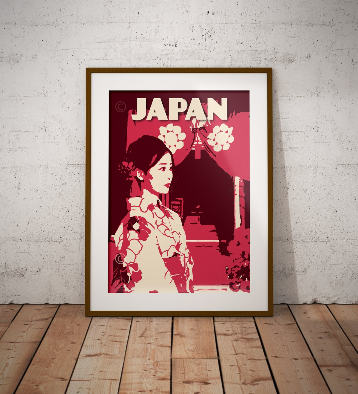 Image of Japan Print | Women in Kimono | Vintage Poster | Travel Poster | Gift | Red