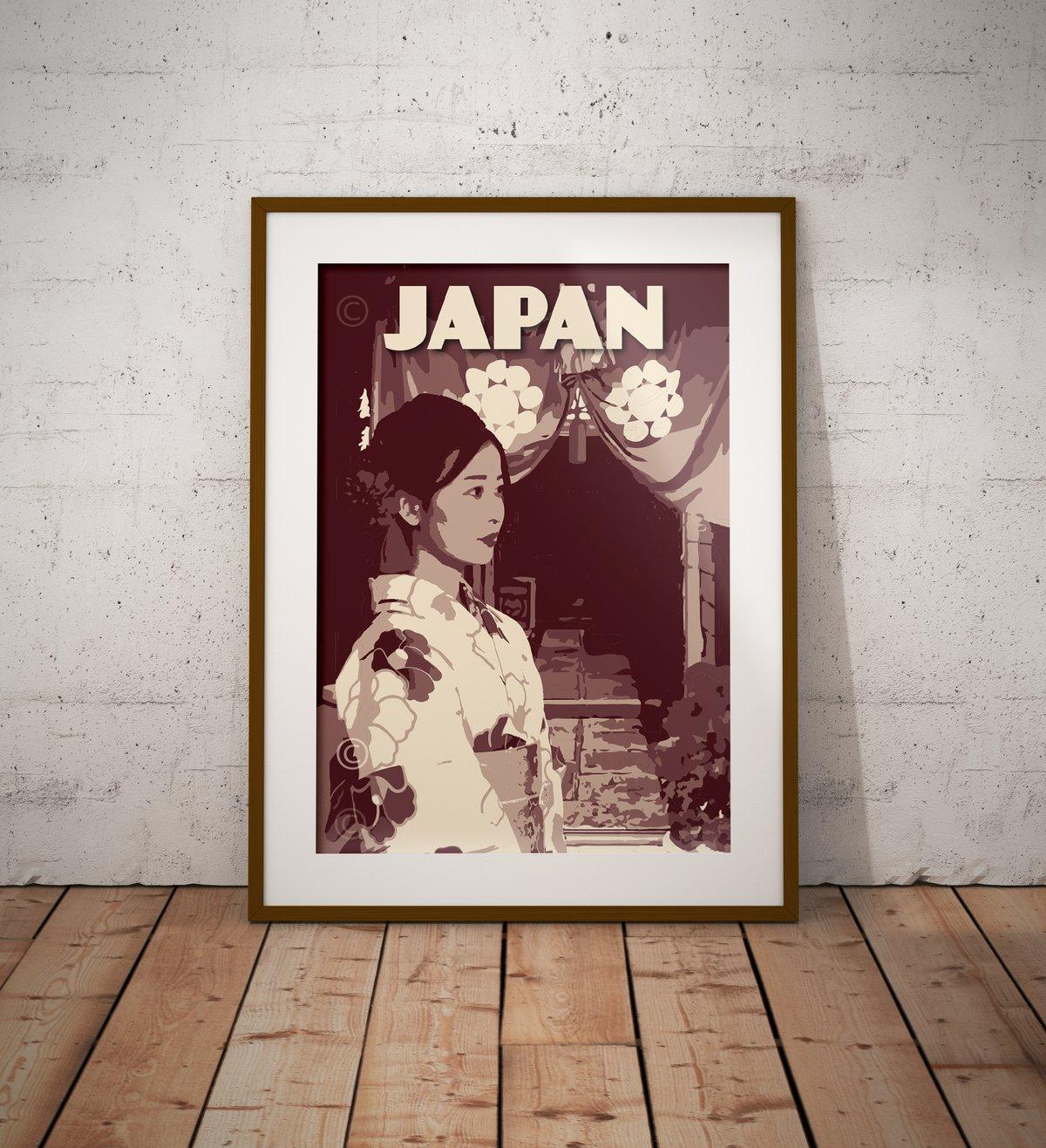 Image of Japan Print | Women in Kimono | Vintage Poster | Travel Poster | Gift | Purple