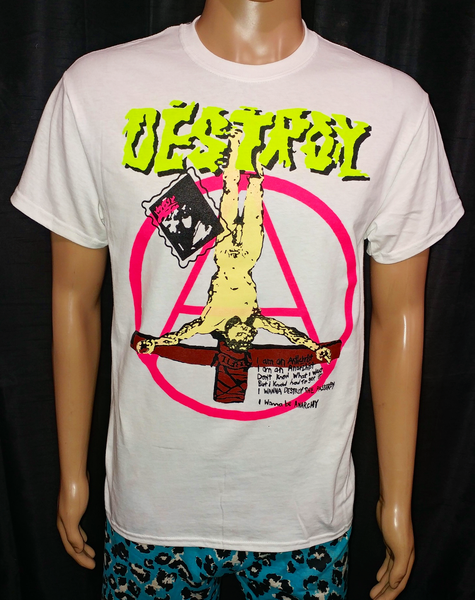 Image of DESTROY crucified jesus neon pink anarchy full color white tshirt