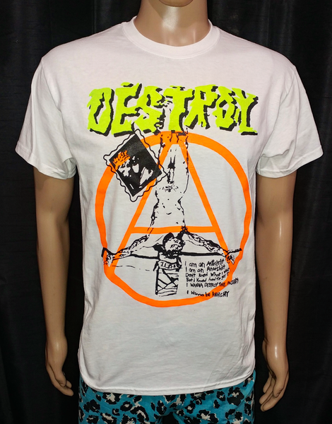 Image of DESTROY crucified jesus neon orange anarchy white tshirt
