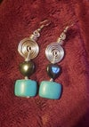Turquoise & Hematite Spiral Ear-rings
