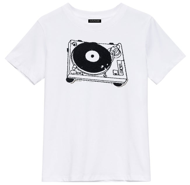 Image of 'Turntable' Graphic Print White T-Shirt