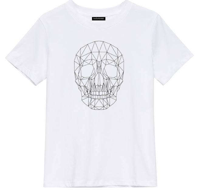 Image of 'Skull' Graphic Print White T-Shirt