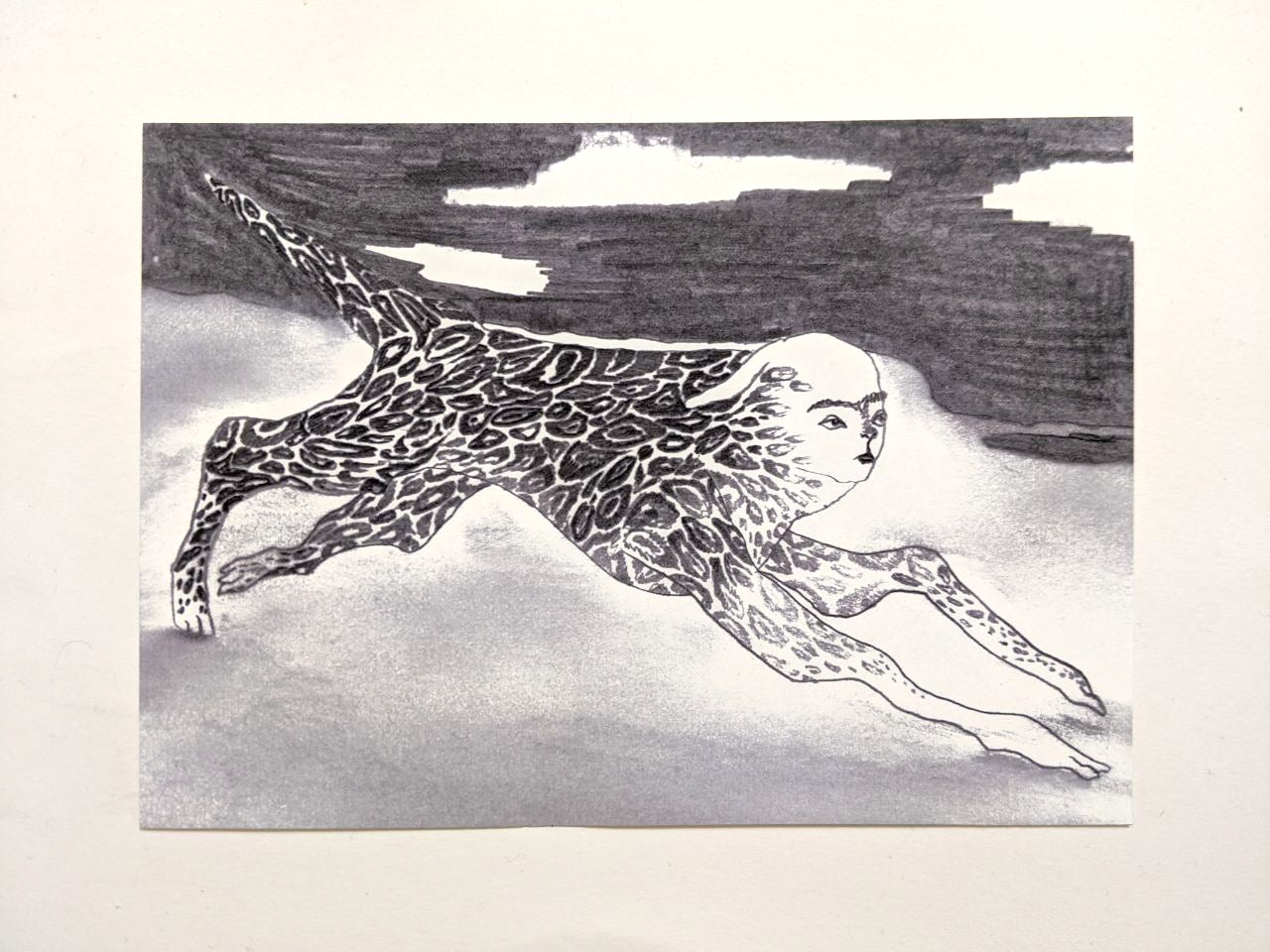 "Image of print ""conscious creature on dusty ground"""