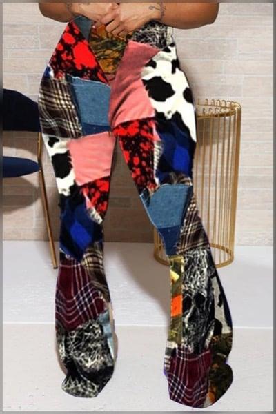 Image of Mixed Print Flared Pants