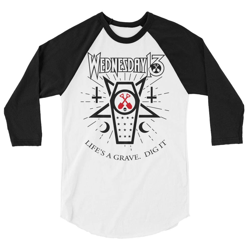 "Image of WEDNESDAY 13 ""LIFE'S A GRAVE. DIG IT - 2020"" UNISEX 3/4 SLEEVE RAGLAN"