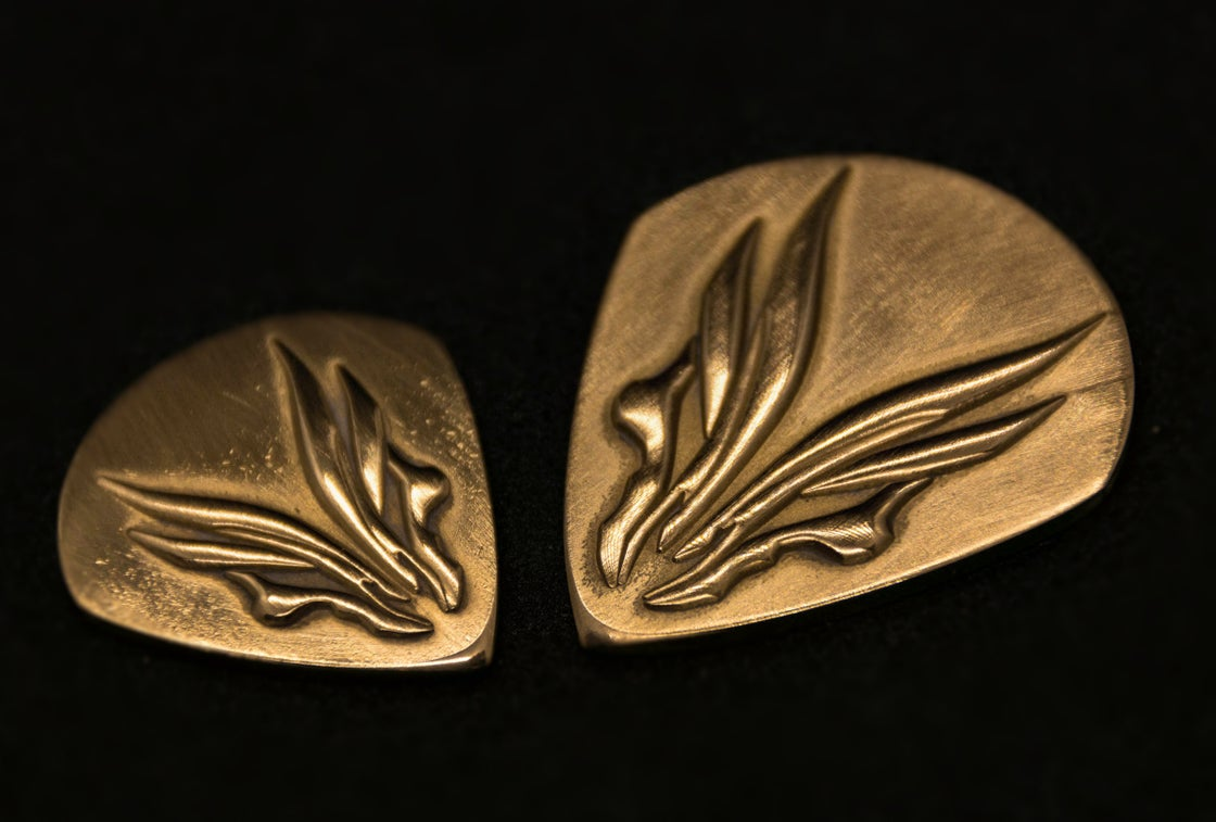 Image of Hufschmid solid brass plectrums