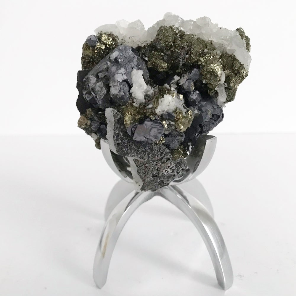 Image of Galena/Quartz/Chalcopryite No.11 + Limited Edition Chrome Claw Stand
