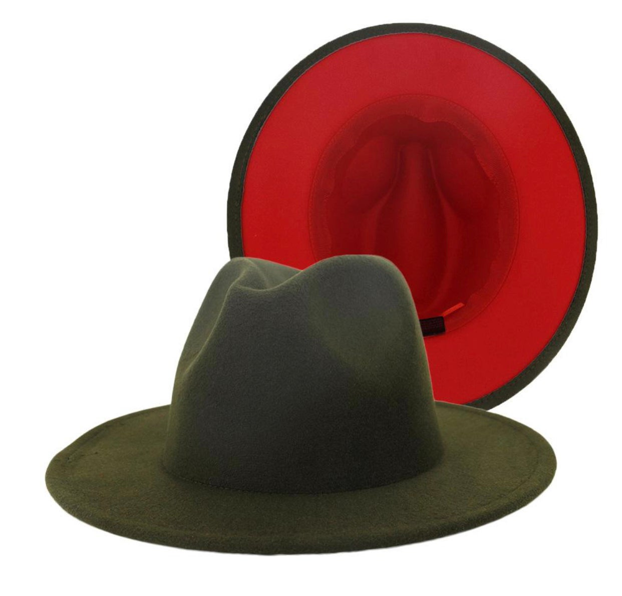 Image of Green/Red Fedora Hat (Exclusive Release)