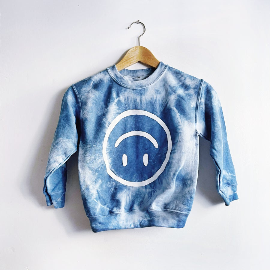 Image of Upside Down Happy Face / Indigo Dyed / Youth Size