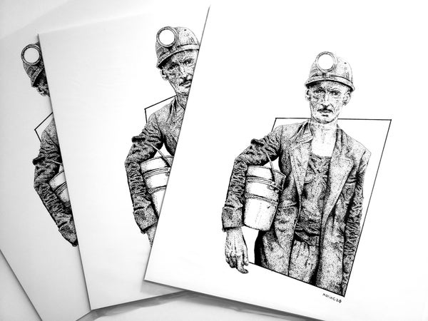 "Image of 8"" x 8"" Coal Miner print"