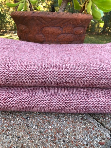 Image of Cranberry Herringbone Mill Dyed Wool