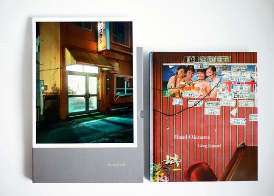 """Image of Hotel Okinawa. In hardened slipcase with signed 8x10 inch print (""""Mount Blanc Hotel, Okinawa City"""")."""