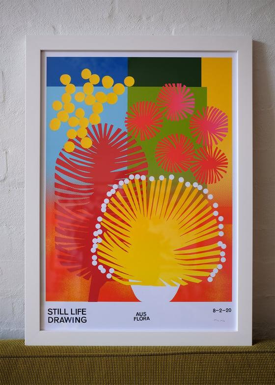 Image of Framed Aus Flora Poster – white