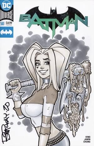 Harley, Bat and Batman Original Copic Marker Sketch 1/1