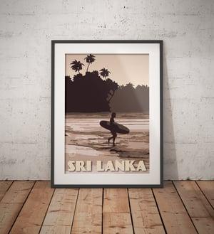 Image of Vintage Poster Sri Lanka - Surfer on the Beach - Purple - Fine Art Print