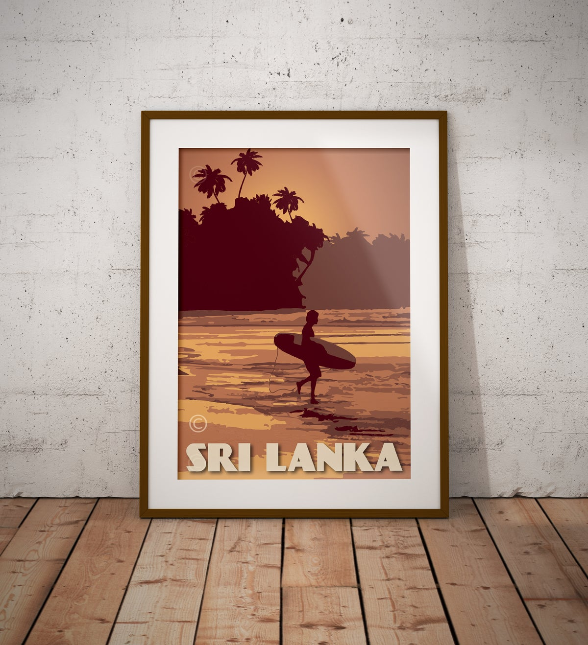 Image of Vintage Poster Sri Lanka - Surfer on the Beach - Yellow - Fine Art Print