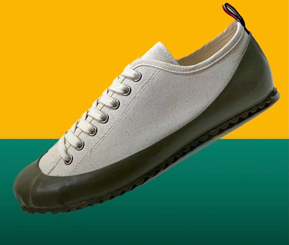 Image of ALLX x Quarter416 marine deck sneaker shoes natural olive made in Romania