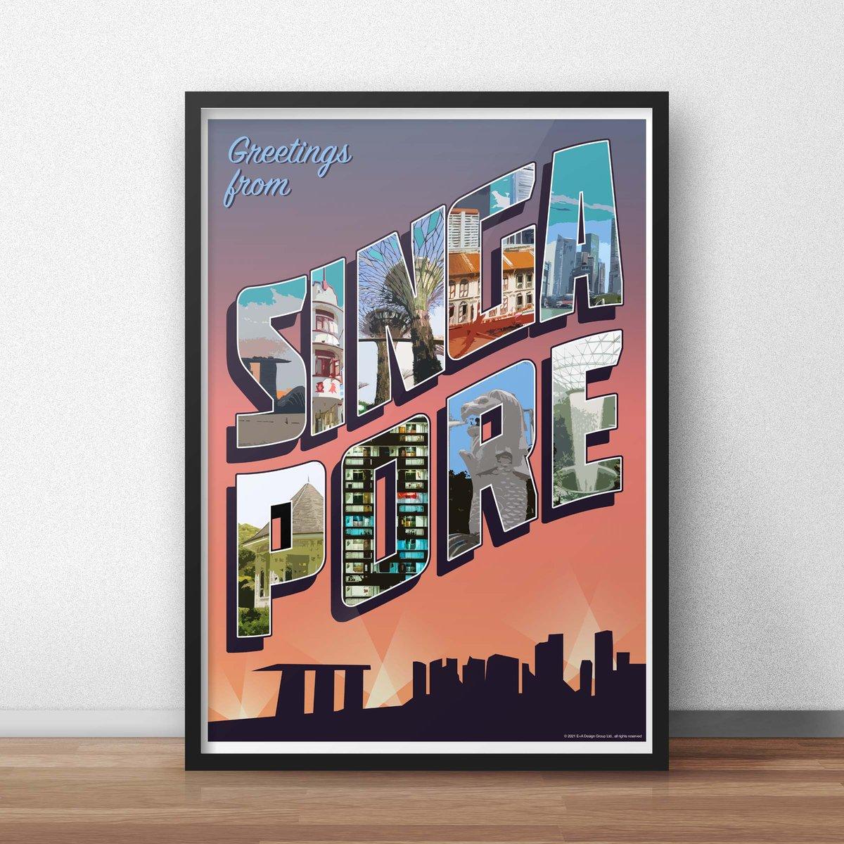 "Image of Singapore ""Vintage Postcard"" Poster"
