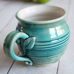 Image of Crackled Turquoise and White Glazed Mug with Floral Design, Handmade Pottery Made in USA