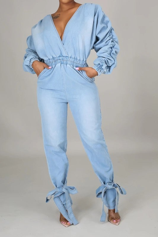 Image of Girlie Denim Jumpsuit