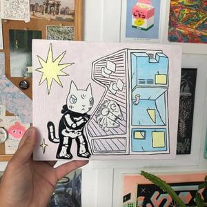 Image of Cat Playing Pinball Painting