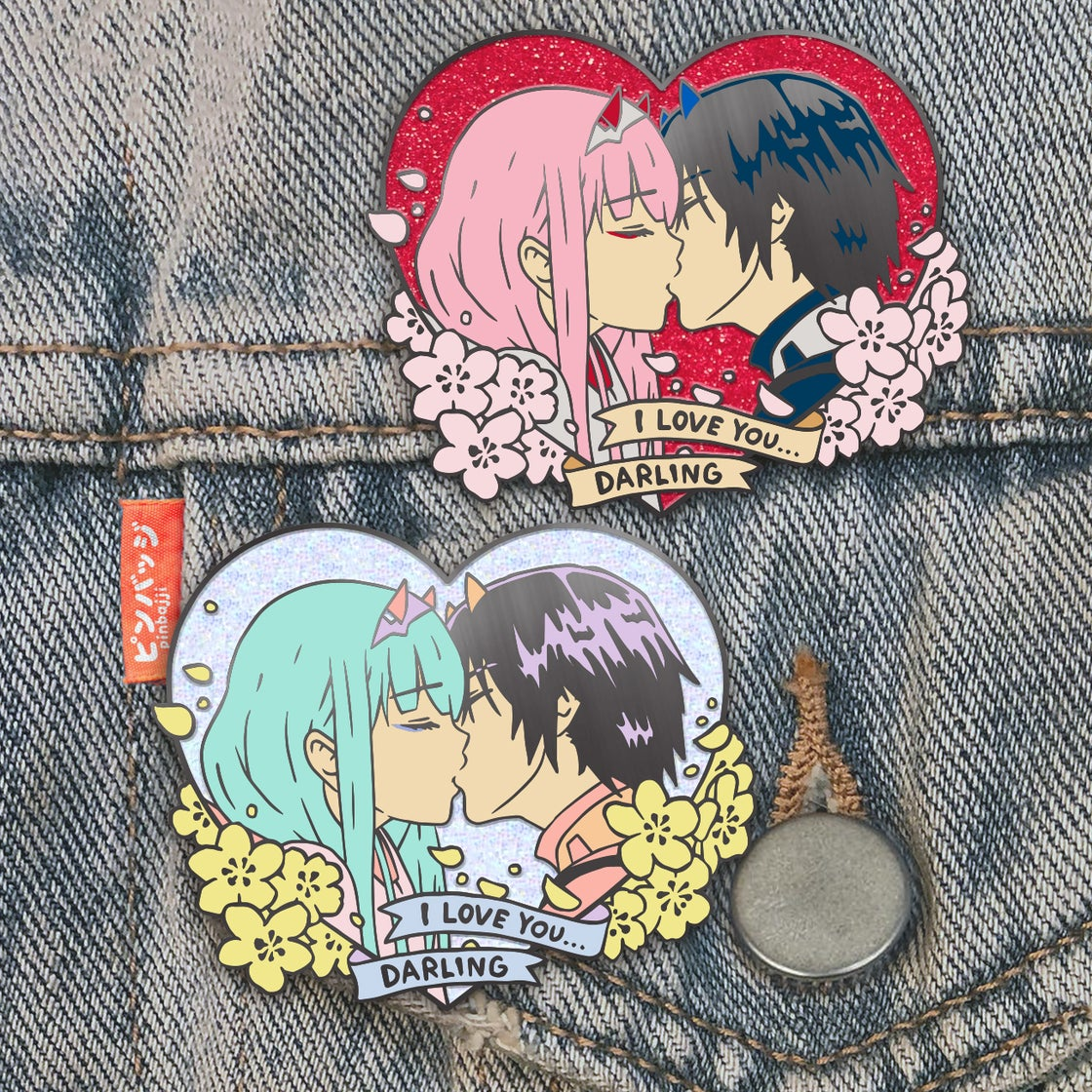 Image of Zero Two + Hiro Heart Pin