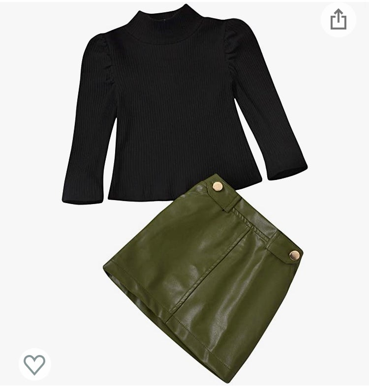 Image of Green leather skirt set