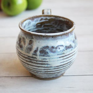 Image of Brown Rustic Pottery Mug with Dripping White Glaze, 14 oz. Made in USA Ready to Ship 2